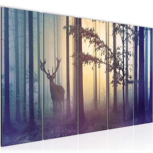 Bilder Wald Hirsch Wandbild 200 x 80 cm Vlies - Leinwand Bild XXL Format Wandbilder Wohnzimmer Wohnung Deko Kunstdrucke Blau 5 Teilig - Made IN Germany - Fertig zum Aufhängen 013455a