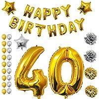 Globos Fiesta Cumpleaños #40 Suministros y Decoración por Belle Vous - Set 26 Piezas - Globo Grande Aluminio de 30,5cm 40 Años - Globo de Látex Dorado y Plateado- Decoración Adultos Hombres y Mujeres