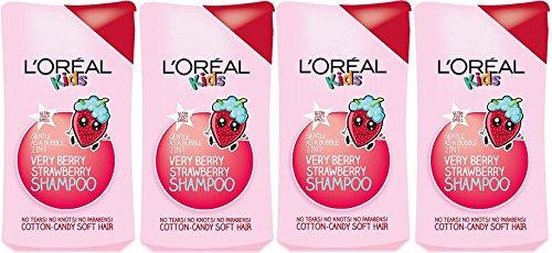 4x L 'Oreal Paris Kids Extra sanfte 2-in-1sehr Berry Erdbeere Shampoo, 250ml