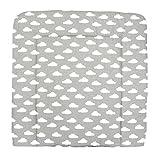 TupTam Baby Wickelauflage Gemustert mit Baumwollbezug, Farbe: Wolken Weiß/Grau, Größe: 75 x 85 cm