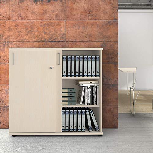 Weber Büro Uni Aktenschrank abschließbar 3OH 1,2M Ahorn Büroschrank Schiebetürenschrank