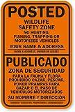 No caza, pesca, caza o vehículos motorizados–añadir nombre y dirección/señal, 18'x 12'