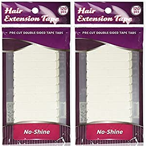 Walker Tape - No Shine - Double Sided Hair Extension Tape, 4 cm x 0.8 cm, 120 Tabs (2-Pack)