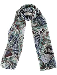 Peacock Design Womens Chiffon Scarf In Blue, Red, Pink & Brown