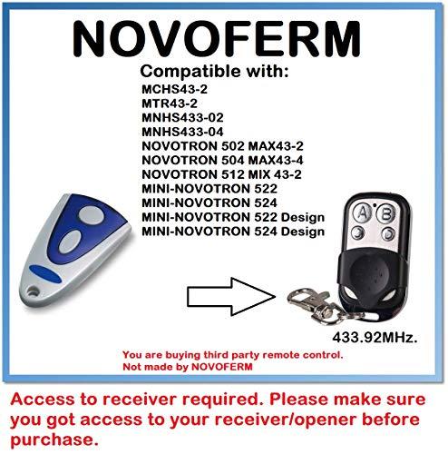 Mini Carbon MIX43 2 NOVOFERM/NOVOTRON 512 Compatible Mando a distancia 4canales 433,92mhz rolling code Reemplazo emisor de alta calidad para el mejor precio.