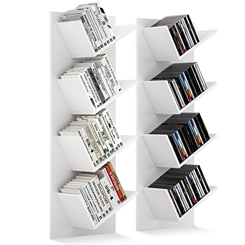 HOMFA 2x Wandregal Bücherregal Büroregal Wandboard Wandablage Hängeregal Holzregal Dekoregal CD DVD Regal mit 4 Ablagen weiß