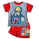 Sam El Bombero - Fireman Sam - Pijamas con Pantalones Cortos Sam, T-Shirt 86-164:92;Farbe:Grau