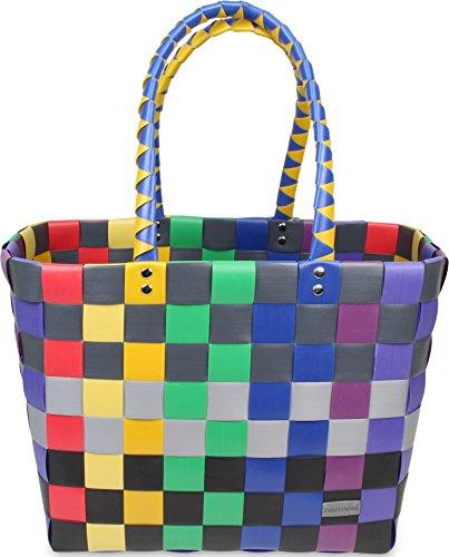 normani Einkaufstasche geflochten mit Henkeln - Tragetasche extra robust Farbe Classic/Rainbow
