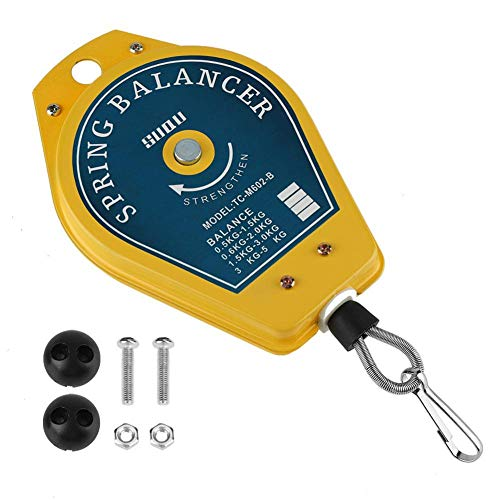 Équilibreur ressort 0,5-1,5 kg support de charge Tension de ressort rétractable Attachement titulaire avec raccords accessoires jaune