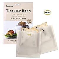 Demana 6 pcs Reusable Toaster Bags|100% BPA Gluten Free | Non Stick Toast Bag for Sandwich Made of Premium Quality Teflon| Quick Clean-16 x 16.5cm