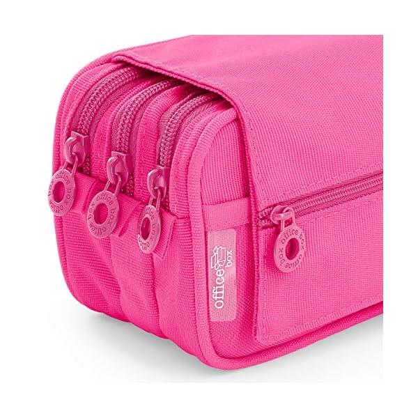Estuche Portatodo Triple de Amplios Apartados Interiores con Tres Cremalleras para Material Escolar o Neceser. Blush Pastel Rosa