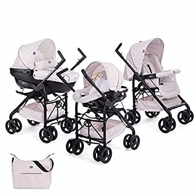 Chicco Trío Sprint - Sistema de paseo y viaje 3 en 1, capazo/carrito/coche, color azul, beige, negro o rojo
