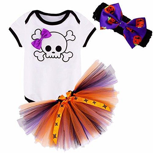 YiZYiF Baby Mädchen Kleidung Set 3 Stück Kurzarm Body Strampler + Rock Pettiskirt mit Strinband Halloween Kostüm Taufe Anzug Outfits 0-12 Monate Totenkopf + Bow 0-3 Monate (Kind Halloween Kostüme 0 3 Monate)