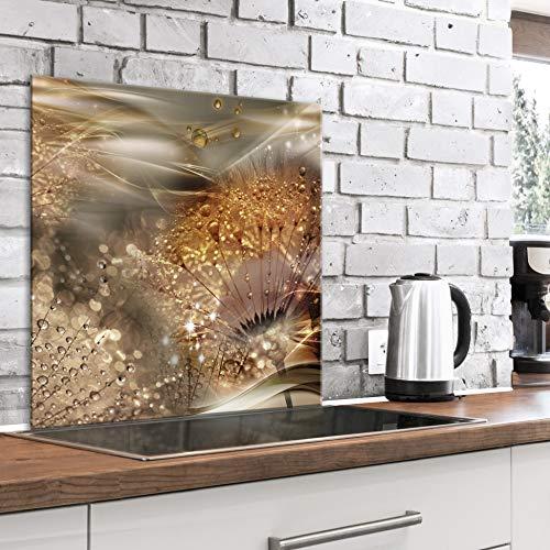 murando Spritzschutz Glas für Küche 60x60 cm Küchenrückwand Küchenspritzschutz Fliesenschutz Glasbild Dekoglas Küchenspiegel Glasrückwand Pusteblume - b-A-0560-aq-a