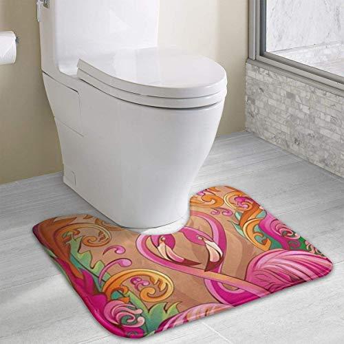 Hoklcvd Personalisierte Toilette Teppich-Paare von Flamingo Toilette U-förmige MatCartoon weiche Matte Dusche Boden Teppich Badezimmer (Navy Zeitgenössische Teppich)