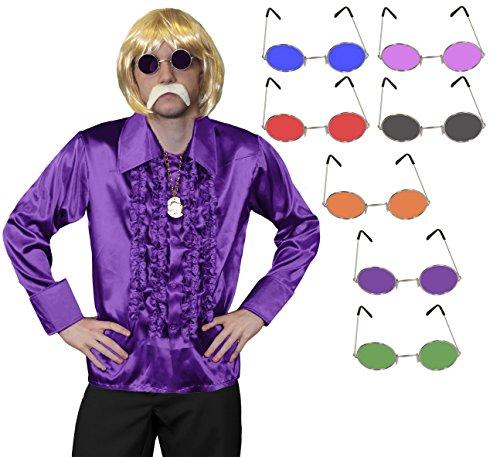 ILOVEFANCYDRESS 1960S Disco Hippie Set KOST[M VERKLEIDUNG=RÜSCHEN Hemd+MEDALLIEN Kette+Hippie Brille+PERÜCKE+Schnurrbart=Samstag Nacht Fasching Party=Hemd-LILA/MEDIUM+ Brille/BLAU
