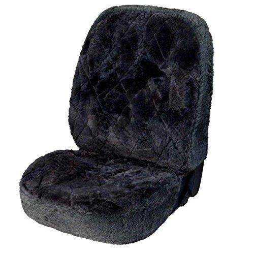 WOLTU® Lammfellbezug Auto Sitzbezug Echtlammfell universal Vollbezug Vordersitzbezug Grau AS7334gr