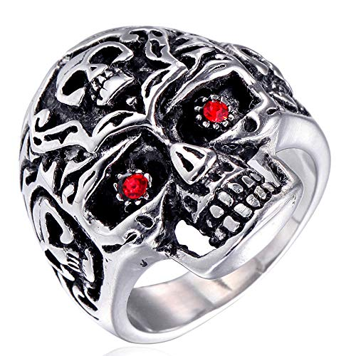 Quoouz Herren Schmuck Titan Stehlen Rot Auge Silber Schädel Ringe,Größe 67(21.3)