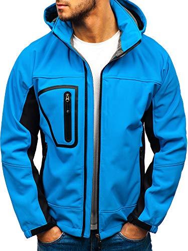BOLF Herren Softshell Funktionsjacke Sportjacke Kapuze Outdoor Sportlicher Stil VOCLAND T019 Blau (Hell) XXL [4D4] Sport Jacke