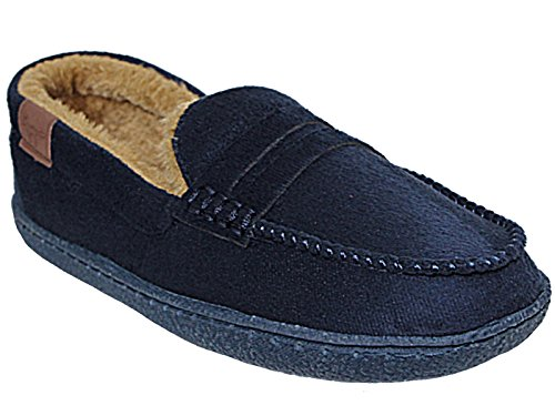 Boys Mens Faux Suede Fur Lined Moccasin Slippers Shoes Size 1-6 & 7-12
