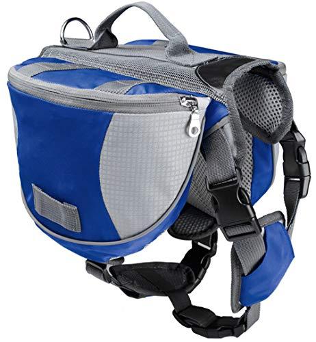 ALOOVOO Hund Tasche Sattel Rucksack Mittlere und Große Große Hunde Tasche für Outdoor Wandern Camping Training Pet Carrier Wasserdichte Reflektierende,Blue,S