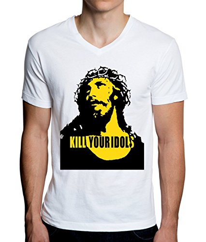 Jesus Mens Tee (Kill Your Idols Jesus Design Men's V-Neck T-Shirt XX-Large)