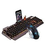 Familizo Clavier Ergonomique de jeu D'USB de Rétroéclairage LED + Jeux de Souris de Gamer + Tapis de Souris (455 (L) x 175 (W) x45 (H) mm, Noir)