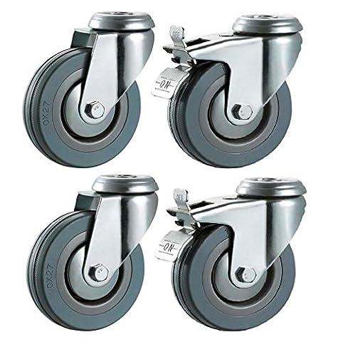 50mm nicht Markieren grau Hartgummi Rollen (gebremst)?10mm Loch Befestigung, robuste Rollen Räder von Bulldog Rollen?Max 100kg pro Set