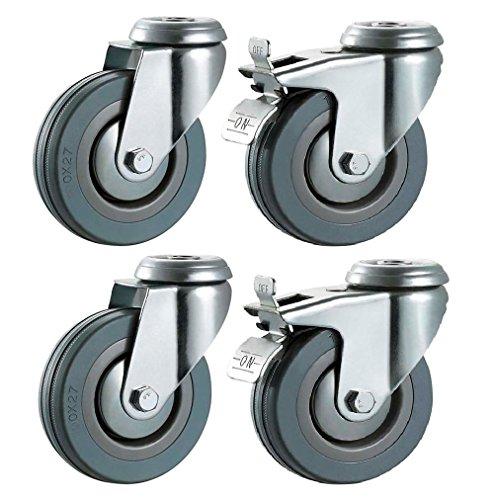 con llanta de acero color negro 125 mm goma maciza Juego de 4 ruedas giratorias con tope