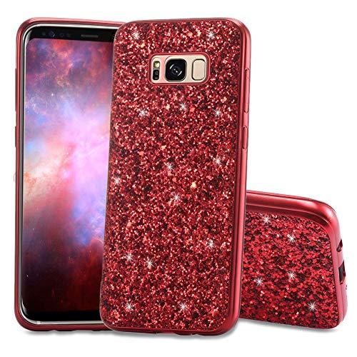 Slynmax Galaxy S8 Plus Hülle Glitzer Bling Schutzhülle Galaxy S8 Plus Hülle Mädchen Soft Slim TPU Silikon Hülle Bumper Style Tasche Luxus Handyhülle Kompatibel mit Samsung Galaxy S8 Plus Hülle,Rot