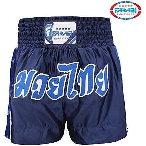 Farabi Muay Thai Shorts Kick Boxing Muay Thai Trunks (Navy Blue, XL)