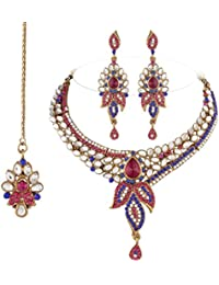 I Jewels Traditional Gold Plated Kundan Necklace Set With Maang Tikka For Women(Rani/Dark Pink & Blue)(K7050QBl)