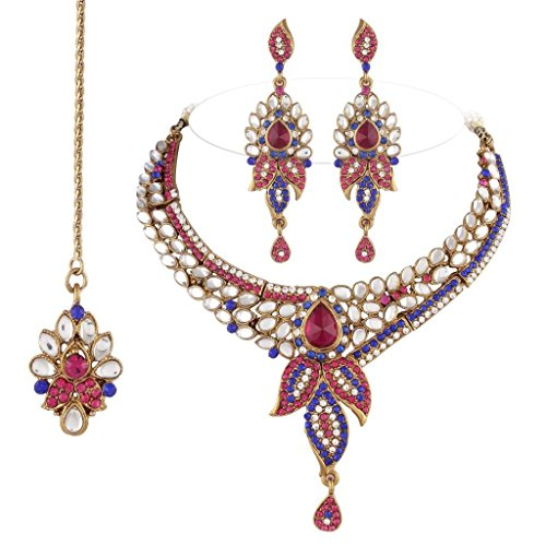 I Jewels Traditional Gold Plated Kundan Necklace Set with maang tikka for Women(Rani/Dark Pink & Blue)(K7050QBl)  available at amazon for Rs.599