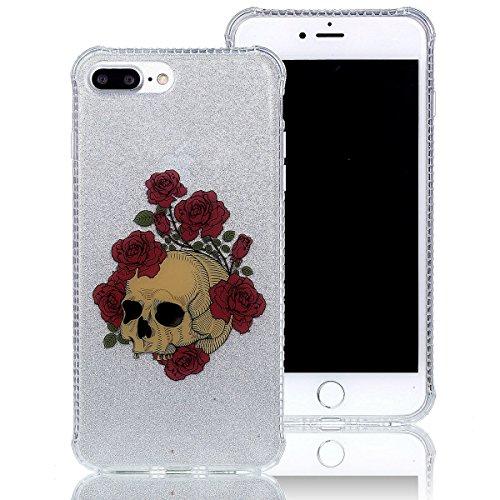 Coque iPhone 7 Plus Silicone, Sunroyal® Semi-Transparent Hybrid Etui Housse de Protection pour iPhone 7 Plus TPU Gel Souple Clair Crystal Case Cover avec Absorption de Choc Bumper et Anti-Scratch Bump Pattern 04