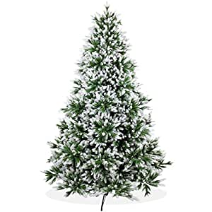Künstlicher Weihnachtsbaum 240cm DeLuxe in Premium Spritzguss Qualität, angeschneite Nordmanntanne, Tannenbaum mit PE Kunststoff Nadeln, Nordmannstanne Christbaum im beschneit Design