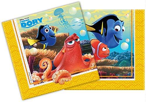 Procos 86650 - Servietten Papier Finding Dory (Findet Nemo), 20 Stück, blau/gelb (Dorie Nach Suche)