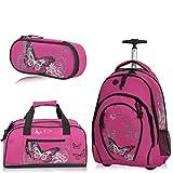 Fabrizio Schulrucksack Trolley Rucksack 3er SET Schultrolley Sporttasche Etui (Azalea Pink)