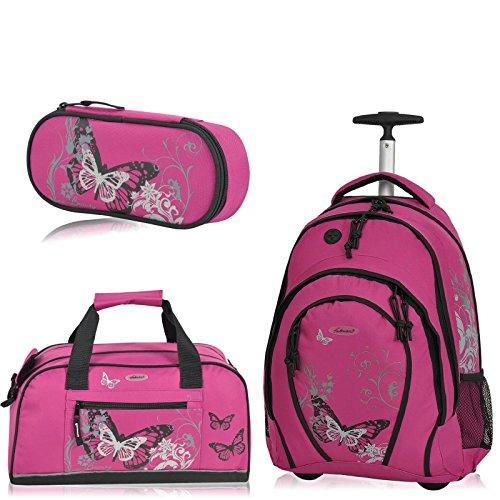 Preisvergleich Produktbild Fabrizio Schulrucksack Trolley Rucksack 3er SET Schultrolley Sporttasche Etui (Azalea Pink)