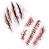 LAEMILIA 10 stk Halloween Karneval Kostüme Schminke Kunstblut Tattoo Zombie Narben Makeup Horror (Rot)