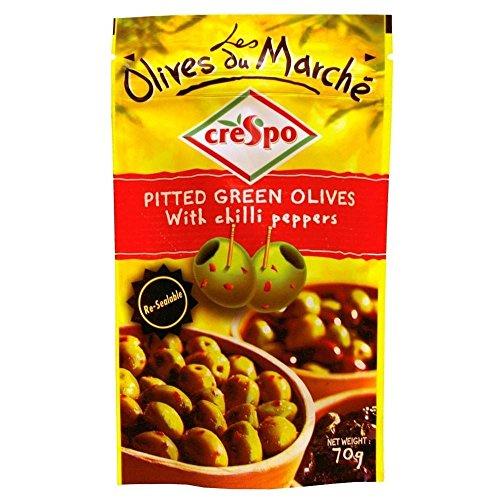 Olives Vertes Dénoyautées Crespo Avec Les Piments (70G)
