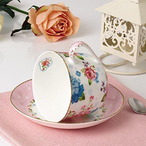 KHSKX Flower bone china Tazza da caffè piattino set cucchiaio di ceramica creativa prima colazione un bicchiere di latte a mano di vetro una tazza di tè del pomeriggio cup