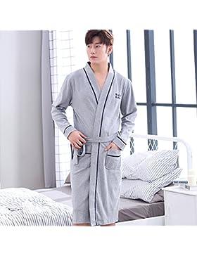 Mangeoo pijamas para hombre de primavera y otoño de algodón de longitud media, código grande, albornoz suelto,...