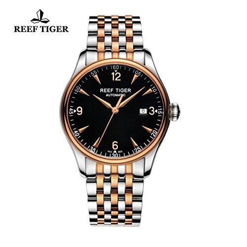 Reef tigre da uomo Business orologi acciaio oro rosa Quadrante nero cristallo zaffiro Orologio con Data rga82