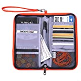 GADIEMKENSD Travel Wallet Passport Holder with RFID Blocking Offer Family Organizer for Credit & Business Cards,Document,Boarding Pass,and Accessories (Orange)