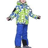 Kinder Skianzug Skijacke Skihose Regenlatzhose Verdickung Lang Jacket Wintermantel Mantel (Höhe134CM-140CM, Grün)