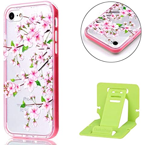 iPhone 7 2-in-1 (Tpu silicone Custodia e PC Frame)Transparente Cover, iPhone 7 Cover Puro, Ekakashop 2016 Neo Disegni Vintage Elegante Colorate Ultra Slim Sottile Morbida Soft TPU Silicone Clear View Gomma Gel Dipinto Fantasia Lusso Bello Donna Ragazza Antiurto Protettiva Rigida Anti-scratch Cover Case Custodia Bumper per Apple iPhone 7 4.7 Pollici con Free Ekakashop Kickstand -- Cherry blossoms