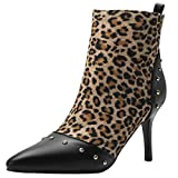 YE Damen Stiletto Stiefeletten High Heels Ankle Boots mit Reißverschluss Spitze Stiefel Winterboots Elegant Schuhe(Leopard Muster,39)