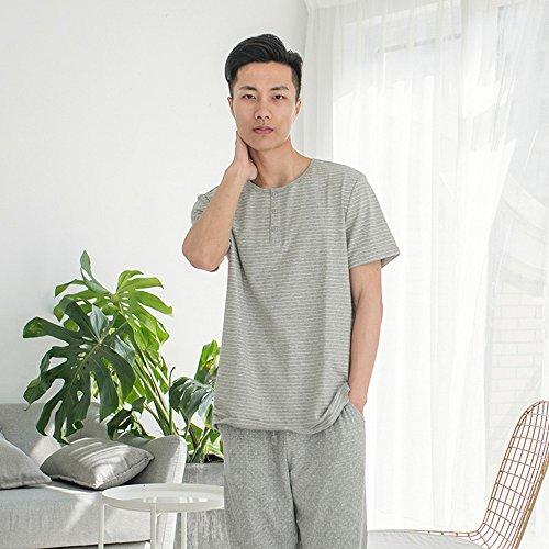 Lanker Herren Short Sleeve Top & Hose Nachtwäsche Schlafanzüge 2Stück Baumwolle PJ Set kj28p, Grau, XL (Pj Baumwolle Herren)