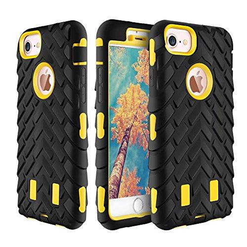 FQIAO iPhone 7 PC+TPU Zurück Hülle 2-in-1 Stoßsicherer Hybride Schützend Anti-Rutsch Dauerhaft Schutz Abdeckung für Apple iPhone 7 4.7 Zoll 2016 Freisetzung-(Gelb+Schwarz)
