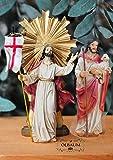 KREUZWEG Station 15-1 Auferstehung + Jesus als guter Hirte, im Himmel und auf Erden, 2 Figuren,Mt 28,1-10- Passion Christi - für 9-10 cm Figuren, ideal als Krippenfiguren-Zubehörset für Passionskrippen, Weihnachtskrippe, Kreuzweg- und Ölbaum-Weihnachtskrippen